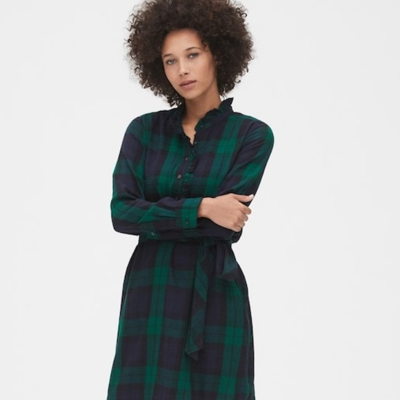 GAP Dresses & Skirts - NWT Gap Plaid Ruffle-Neck Popover Shirtdress